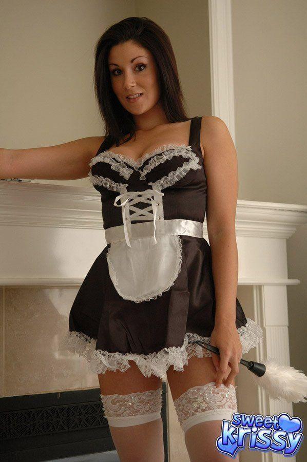 Maid looking mature brunette